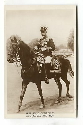 The Late King George V riding a horse - 1930's real photo postcard