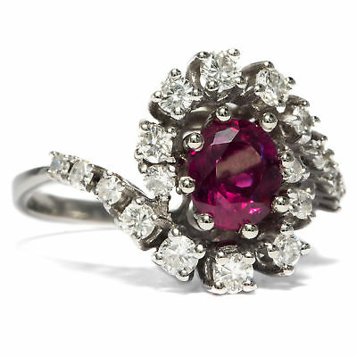 Vintage 585 WHITE GOLD RING WITH RUBY & Diamonds Engagement Ring Ruby Diamond