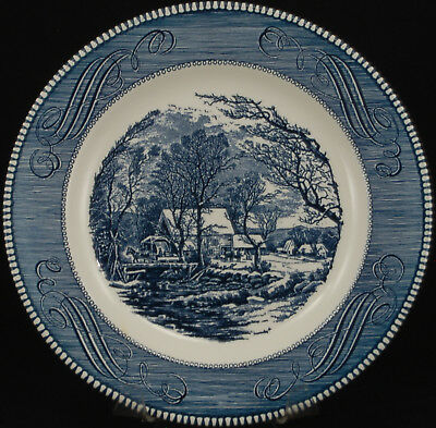 Royal Currier and Ives Blue GL Dinner Plate