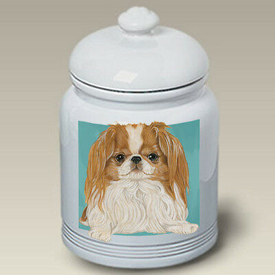 Ceramic Treat Cookie Jar - Red/White Japanese Chin (PS) 52351