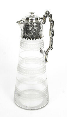 Antique Victorian Silver Plate & Crystal Claret Jug Elkington 19th C