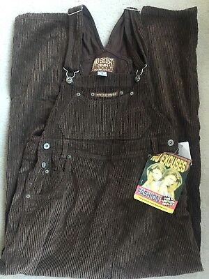 No Excuses Denim Cords Overalls size M Vintage Brown NEW NWT