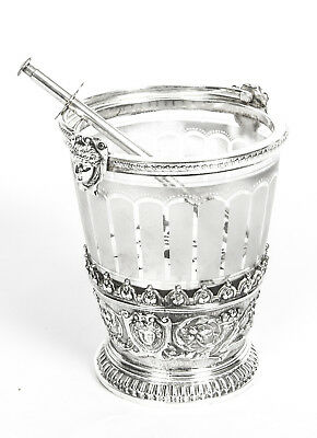 Antique Victorian Silver Plate & Crystal Ice Pail Bucket C1880