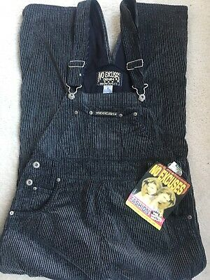 No Excuses Denim Cords Overalls size M Vintage Black Gray NEW NWT