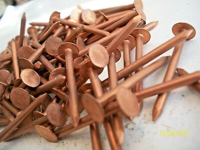 """99 -COPPER  NAILS, 1 1/2"""" LONG x 1/8""""  MARINE-BOAT-WOODWORKING, 3/8"""" WIDE HEAD"""