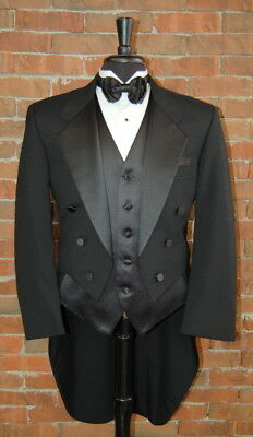 Mens 44 R Classic Black Notch Tails Tuxedo Jacket Full Dress Tail 6 Button Front