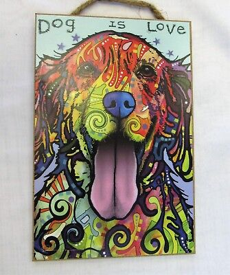 Dean Russo Golden Retriever Funky Art Wood Plaque Sign  Dog Is Love Made in USA