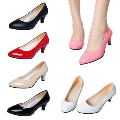 Womens Pointed Toe Low Mid Kitten Heel Smart Office Work Court Shoes Pump Q