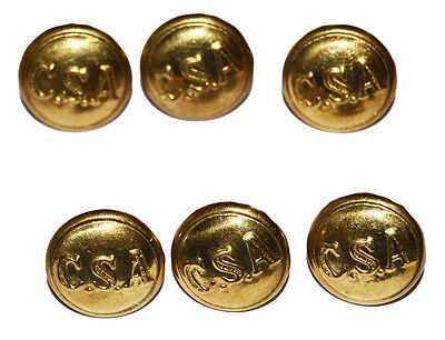 American Civil War ACW Confederate CSA Reproduction Large Jacket Buttons X 6