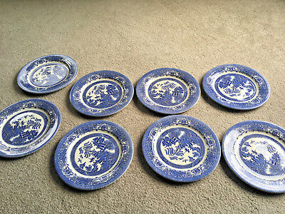 """SET of 8  BLUE WILLOW pottery 10.5"""" PLATES Kane Ind English Ironstone Vintage"""