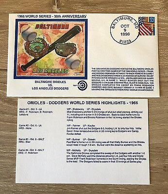 1966 & 1970 WORLD SERIES - Reds/Dodgers vs Baltimore Orioles Anniversary Cachets