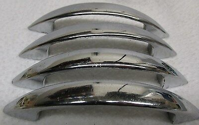 "Vintage Lot of 4 Chrome Drawer Pulls Cabinet Cupboard Handles Atomic 4"" Long"