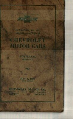 1930 Chevrolet Universal Series Ad Owner's, Operator's Manual
