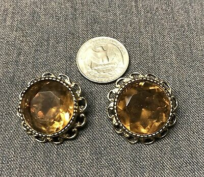 Vintage Pair of Men's Cufflinks Goldtone With Large Amber Stone