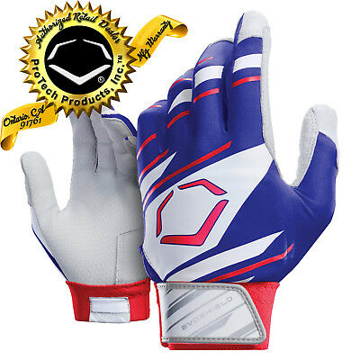EvoShield  YOUTH SPEED STRIPE GEL TO SHELL Batting Gloves ROYAL-WHITE-RED