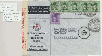 EGYPT -SOUTH AFRICA 1944 CENSORED RED X COVER, 30m RATE (SEE BELOW