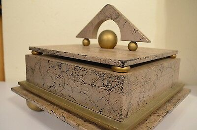 Fancy Abstract Art Deco Geometric MOD Fashion Splatter Retro Jewelry Box VTG 80s