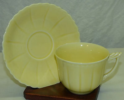 Old W.S. George Elmhurst Yellow Pastel Color Cup & Saucer Made in USA Set F
