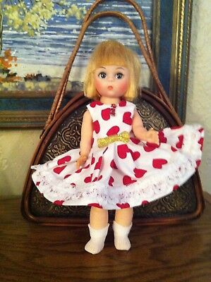 "Adorable 8 "" Madame Alexander doll  in Red Hearts Dress"
