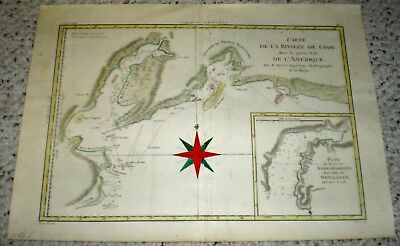 EXC French ~1778 Riviere de la Cook Travels, Islands Tinted Map, Alaska
