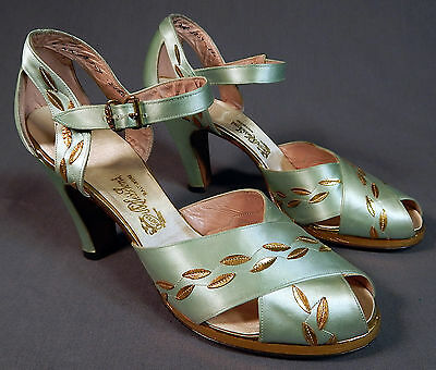 Vintage N Hess Sons Blue Satin Gold Leaf Applique Ankle Strap Platform Shoes