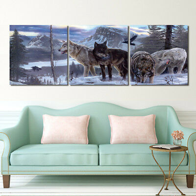 "Snow Mountain Foraging Wolf-Home Decor Modern Art Print On Canvas 16x16""x3pc"