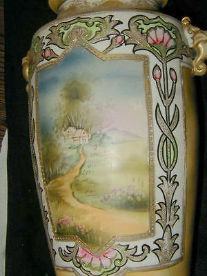 Old Japanese Large Hand Painted Pottery Vase, Art Nouveau Decoration, 12 Inches