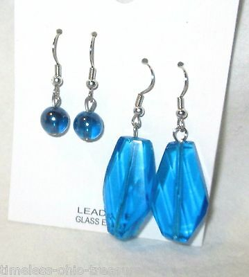 Lot of 2 pair pierced earrings dangle chandelier hook clear blue glass