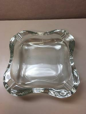 VINTAGE LARGE HEAVY Glass SQUARE ASHTRAY Cigar and Cigarette Rest Cut Outs