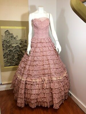 Vintage 1950S Prom Ball Gown Wedding Lace Dress