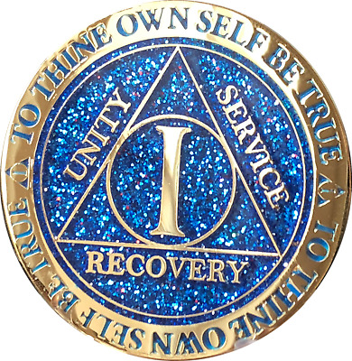 1 Year AA Medallion Reflex Glitter Blue Gold Plated Sobriety Chip Coin One