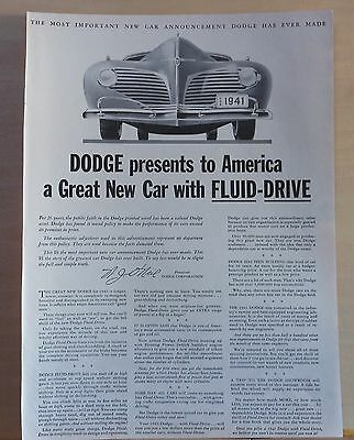 1940 magazine ad for Dodge - Car with Fluid-Drive, front grille illustration