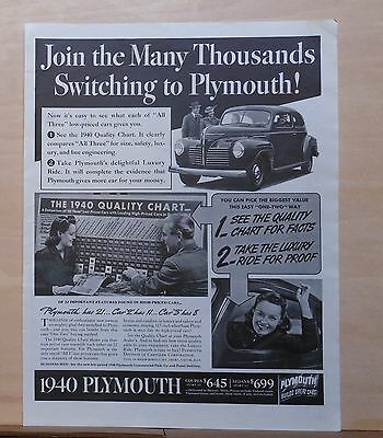 1940 magazine ad for Plymouth - Join Thousands Switching, 1940 Quality chart