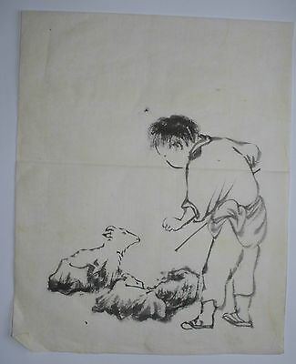 GOATHERD, GOAT & KIDS : OLD Chinese Style Japanese Zen Brush Painting