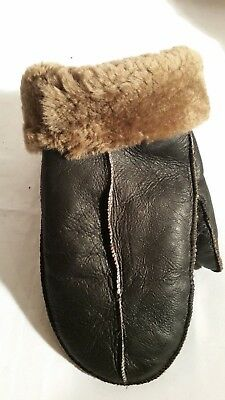 NEW HANDMADE MENS Brown REAL SHEARLING SHEEPSKIN MITTENS MITTS GLOVES SIZE XXL