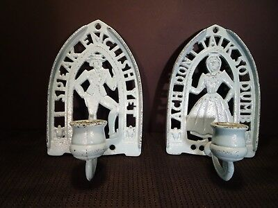 Vintage Cast Iron Wall Sconce Candle Holders Amish Woman 1957
