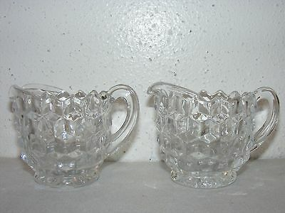 """Vintage 2pc 3"""" high clear glass diamond point cream creamer pitchers ~Y"""