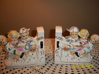 Vintage Pair Bone China Bookends Book Ends Lefton Napco Whimsical Children