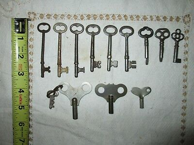 12 old Antique Iron Keys three are clock keys
