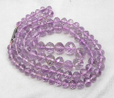 Antique Victorian Cut Faceted Oval AMETHYST Bead Beaded NECKLACE Silver Catch