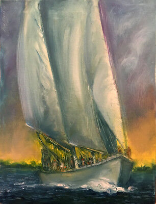 Newport Schooner Before Storm  16x12 in. Oil on stretched canvas Hall Groat Sr.