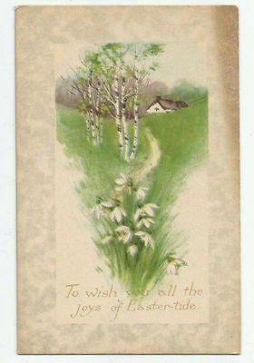 To Wish All the Joys of Easter-Tide Gibson Art Company Lines Postcard Vintage