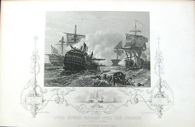 FRENCH REVOLUTIONARY WAR NAVY BATTLE GLORIOUS FIRST OF JUNE 1853 Engraving Print