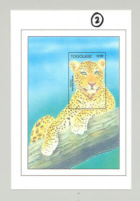 Togo #1728 Leopard, Wild Cats 1v S/S Imperf Chromalin Proof Unissued Colors