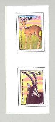 Togo #1724-1725  Horned Animals 2v Imperf Chromalin Proofs