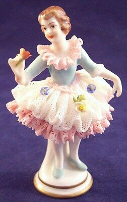 "Aelteste Volkstedter Dresden Porcelain Lady Lace 3-3/4"" Figurine Germany"