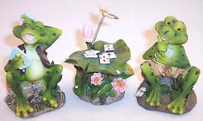 Set of 3 UG Collectible Card Player Frogs & Lily Pad Table Figurines