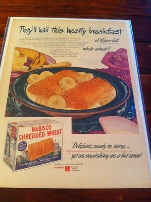 Vintage 1945 Nabisco Shredded Wheat Hail This Hearty Breakfast Print Art ad