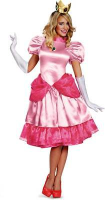 Licensed Nintendo Super Mario Brothers Princess Peach Deluxe Adult Women Costume