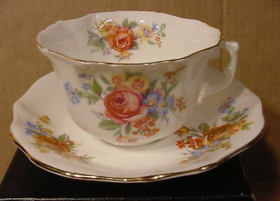 Hammersley Bone China Longton Floral Bouquet Teacup & Saucer